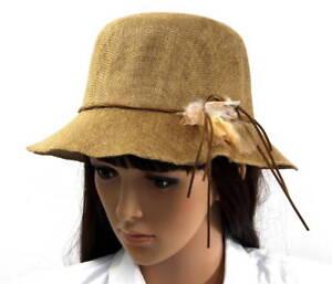 Women Ladies Fashion Summer Flower Hat - Medium Brown