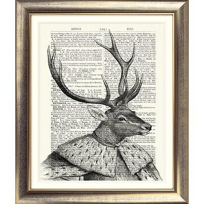 STAG PRINT VINTAGE BOOK PAGE Dictionary Vintage Stag Deer Book Page Art Print