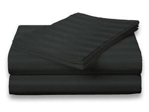 King-Size-Black-400-Thread-Count-100-Cotton-Sateen-Dobby-Stripe-Sheet-Set