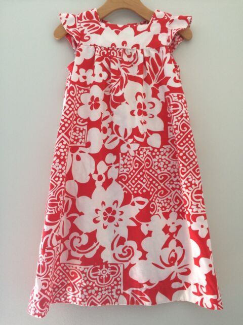 Vtg Retro Aloha Mod Red White Dress 1960s 70s Girl Size 5 6 Big Print Hawaii
