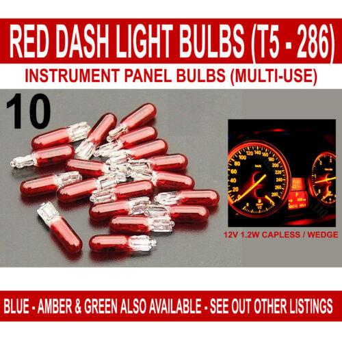 RED CAR DASH LIGHT or INSTRUMENT PANEL BULB T5 286 12V 1.2W CAPLESS