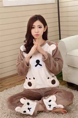 Herbst Winter Frauen Weich Pyjama Set Hausanzug Nachtwäsche Warm Bequem