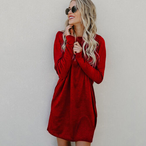 Women Winter Knitted Sweater Jumper Dress Ladies Casual Long Sleeve Mini Dresses