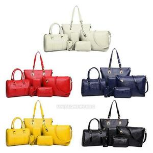 6pcs-set-Mode-Frauen-Schultertasche-Ledertasche-Beuteltasche-Handtasche-Crossbody-Tasche-Lot