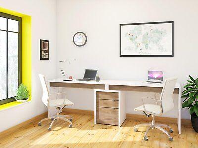 Nexera Liber T 2 Person Office Desk With Filing Cabinet In White Walnut 400610 687174991015 Ebay