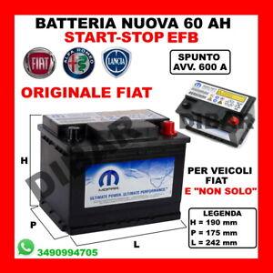 BATTERIA STOP-START 60AH NUOVA ORIGINALE FIAT MOPAR 600A SPUNTO EFB-HEAVY DUTY 3