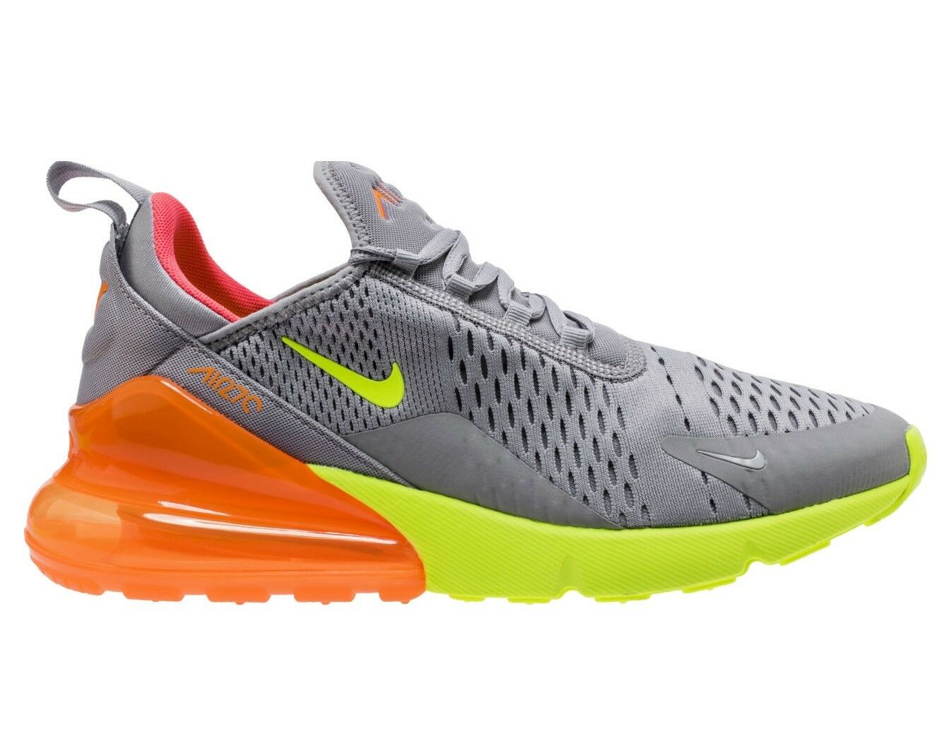 Nike Air Max 270 Mens AH8050-012 Grey Volt Orange Mesh Running Shoes Size 13