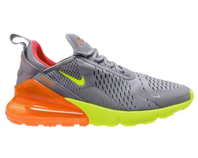 e8d7e7369e7 Nike Air Max 270 Mens AH8050-012 Grey Volt Orange Mesh Running Shoes Size 13