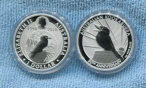 1990-2020-Kookaburra-1-oz-Fine-Silver-Coin-Perth-Mint-30th-Anniversary-Australia