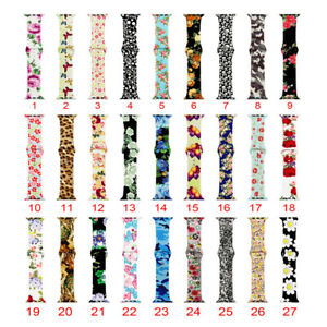 Silicone-Strap-For-Apple-Watch-iWatch-Series-5-4-3-2-Rose-Flower-Leopard-Band