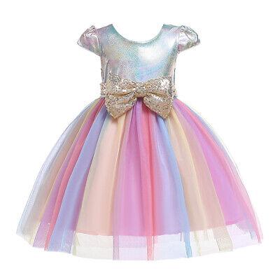 Girls Floral Rainbow Dress Party Tulle Long Pageant Fancy Tutu Dress Tutu Skirt