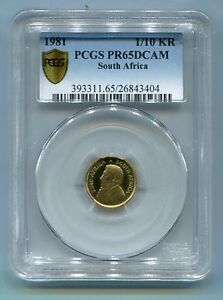 PCGS-Secure-PR65DCAM-South-Africa-1981-1-10-th-Ounce-Krugerrand-Gold-Coin