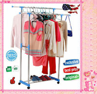 2016 Clothes Stand Rack Double Bar Adjustable Garment Hanger Clothing Display H1