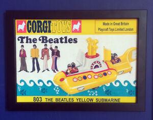 Corgi-Toys-803-de-The-Beatles-Yellow-Submarine-1969-Poster-Cartel-enmarcado-tamano-A4