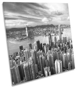 Hong-Kong-City-Skyline-B-amp-W-CANVAS-WALL-ART-SQUARE-Picture-Print