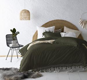 Vintage Design Olive Gypsy Tassel Washed Cotton Quilt Cover Set Single Bed