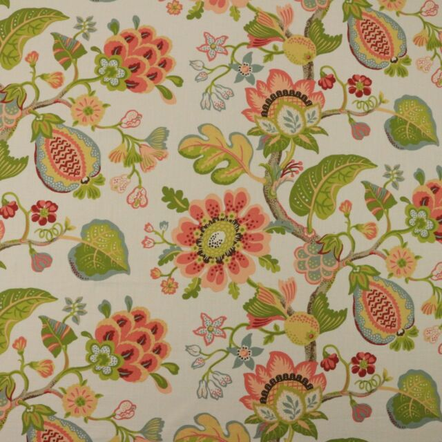 P KAUFMANN ST THOMAS PEARL LARGE FLORAL BASKETWEAVE FABRIC BY THE YARD 54
