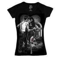 Dga Rockabilly Graphic Women V-neck T-shirt All Sizes Black S-m-l-xl-2xl