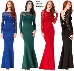 Goddiva-Lace-Open-Back-Bow-Long-Sleeve-Maxi-Evening-Fishtail-Party-Dress-Prom