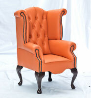 Childrens Kids Armchair Chesterfield Scroll Wing Many Colours Leather Wood Legs