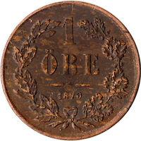 1870 Sweden 1 Ore Coin Carl XV Adolf KM#705
