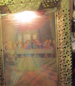 Vintage 3D Jesus & Last Super Picture Gold Tone lighted Metal Frame With A Light