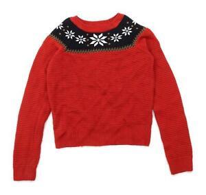 Marks-amp-Spencer-Womens-Size-8-Red-Snowflake-Jumper-Regular