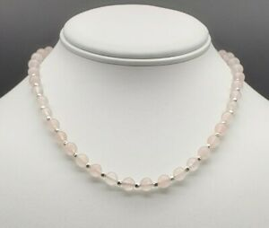 Genuine-Rose-Quartz-Necklace-All-Solid-Sterling-Silver-Choker-Necklace