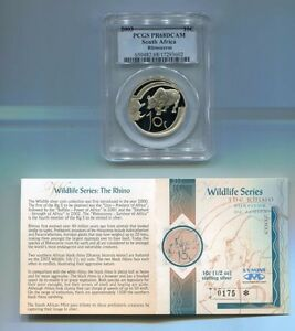 PCGS-PR68DCAM-South-Africa-2003-10c-Silver-Rhinoceros-Coin-Limited-Mintage
