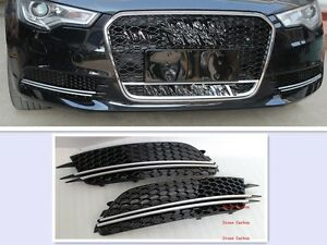 Rs6 Style Front Fog Grill Light Cover For 2013 2014 Audi