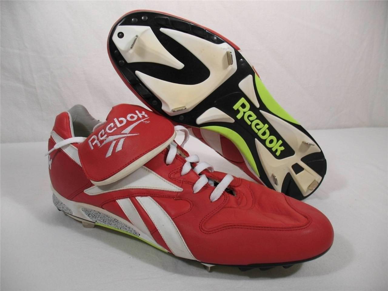 Reebok Leather Baseball Shoes Softball Metal Cleats Spikes Shoes Baseball Red White Mens 16 e2d993