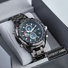 BLACK SPORTSMASTER MENS WRIST WATCH ANTHONY JAMES ANALOG DIGITAL QUARTZ DESIGNER