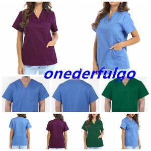 Adults Women Men Medical Hospital Scrub Top Nurse Doctor Healthcare Work Uniform