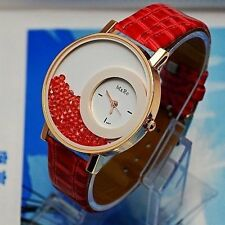 Handcuffs Stylish Rhinestone  Dial Watch with PU Leather Strap For Women