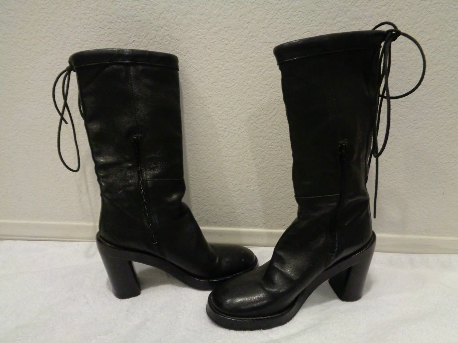 Ann Demeulemeester Black boots tie in the back SZ 37/7