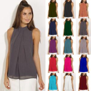 Womens-Cami-Vest-Sheer-Pullover-Loose-Casual-Shirt-Blouse-Layered-Chiffon-Tops