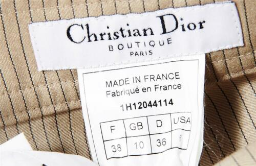Christian Dior Womens Taupe Pinstripe Wide Leg Pants Slacks Trousers 6/38 New by Christian Dior