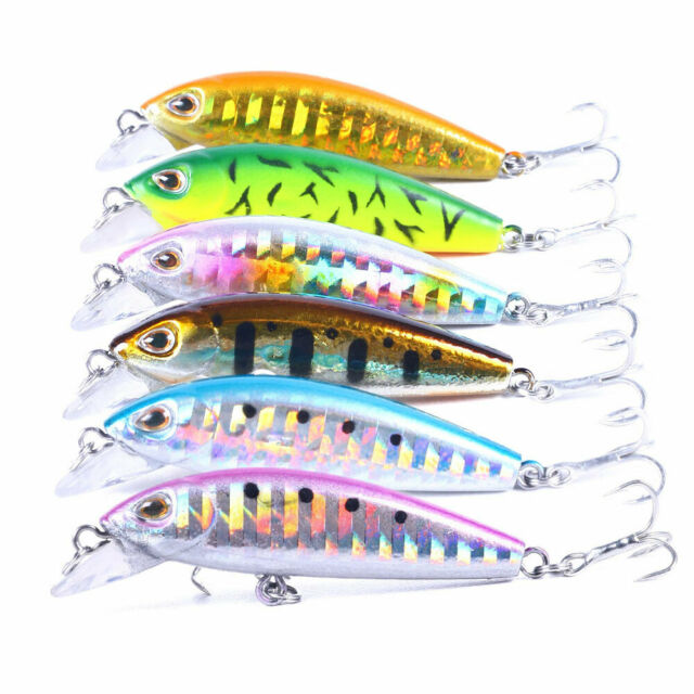 NEW 6 Pcs Hard Metal Fishing Lures Small Minnow Lure Bass Crank Bait Tackle