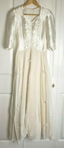 True Vintage 30s 40s White Ivory Satin Silk Chiff… - image 1
