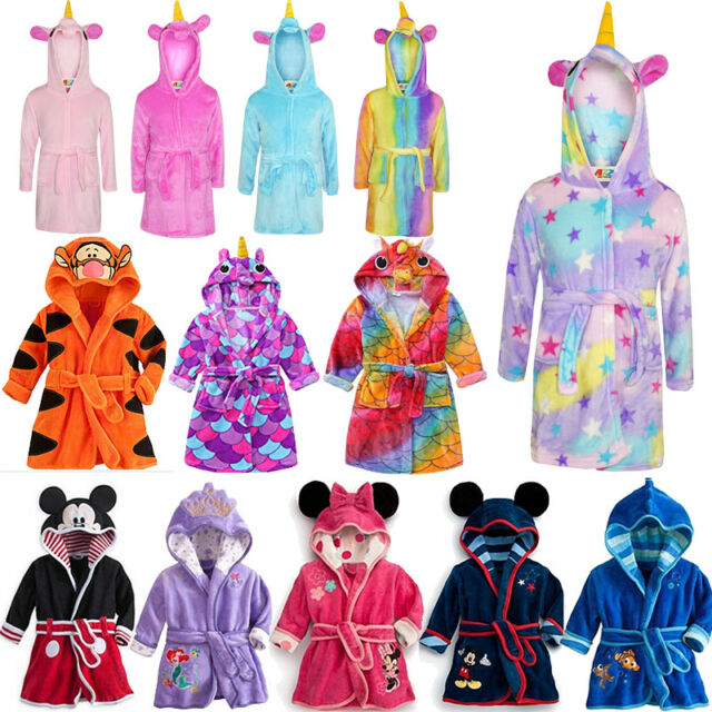 rich and magnificent wide selection shop for best Unicorn Bathrobe Dressing Gown Pyjamas Soft Warm Kids Girl Boy Mickey  Loungewear