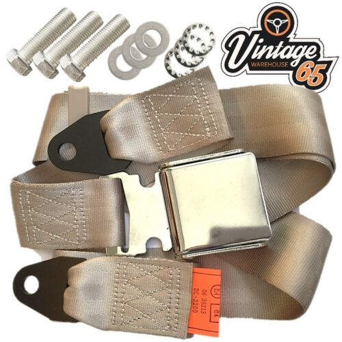 Classic Triumph MG Chrome Buckle 3 Point Adjustable Static Seat Belt Kit Beige