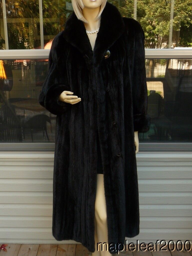 WOMEN 48  NATURAL RANCH MINK FUR COAT 70  SWEEP (Sz. 12-14) MINT