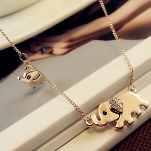 Cute-Elephant-Family-Stroll-Pendant-Charm-Crystal-Rhinestone-Gold-Chain-Necklace