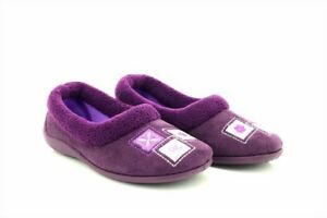 Sleepers LYNN Squares Full Collar Slipper Memory Foam Sock Purple Micro Fibre