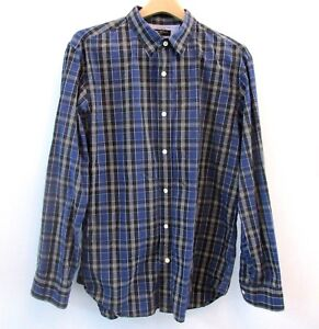 Banana-Republic-Mens-Soft-Wash-Shirt-Blue-Black-Plaid-Checks-Long-Sleeve-Large