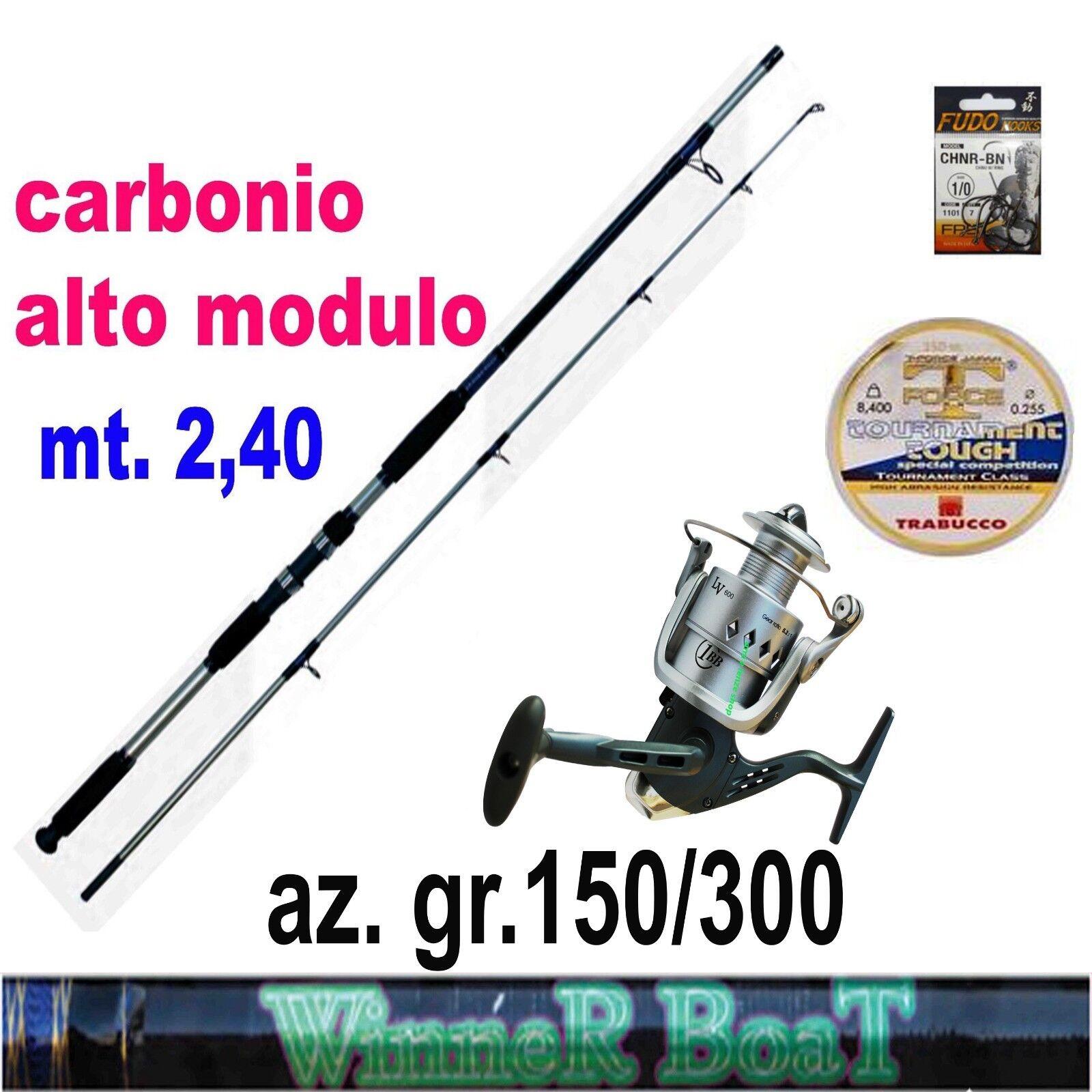 Canna pesca bolentino carbonio potente mulinello filo trabucco amo forgiato mare