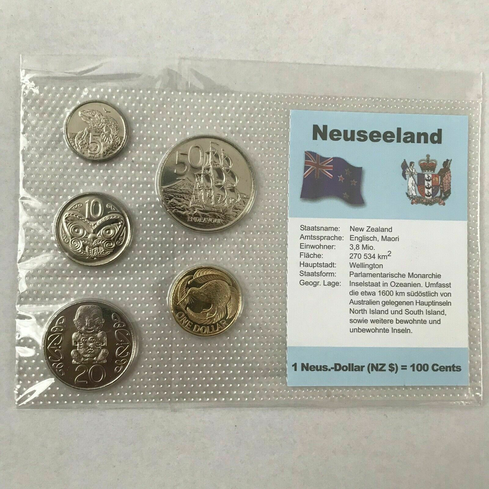 2004 NZ//German New Zealand Tourist Set with RARE 10c Double Rim MULE Error Coin