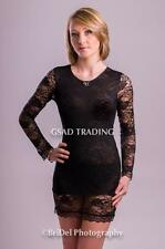 NEW SEXY BLACK FLORAL LACE OPEN BACK & SATIN BOW DRESS - FULL LENGTH SLEEVES