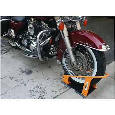 Motorcycle Bike Wheel Chock Garage Floor Truck Trailer Mount Lock
