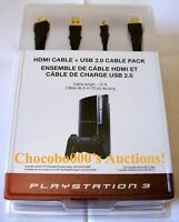 Official Genuine Sony Playstation 3 Ps3 Hdmi 1.3 + Usb 2.0 Cable Pack Sealed